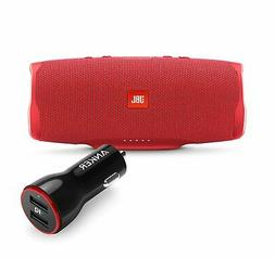 JBL Charge 4 Red Portable Bluetooth Speaker w/Anker Car Char