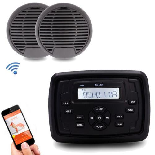 marine stereo bluetooth boat motorcycle receiver rv