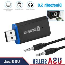 USB Bluetooth 5.0 Receiver Adapter 3.5mm Jack AUX Stereo For