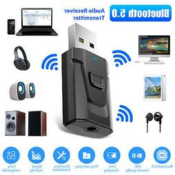 USB Bluetooth 5.0 Transmitter Receiver 3.5mm Stereo Audio Ad